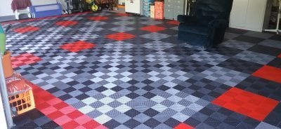 Checkerboad Flow Through Garage Floor Tiles