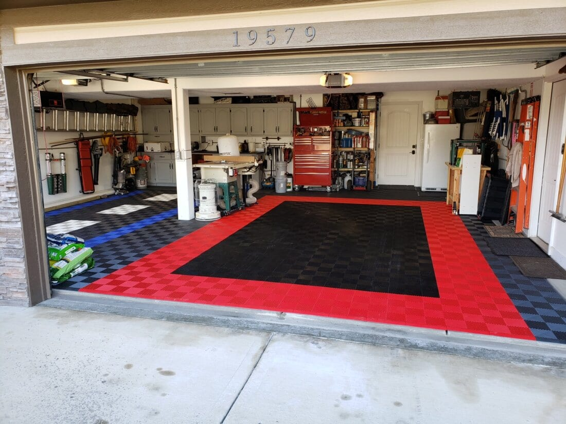 Black and Red Garage Floor Tiles