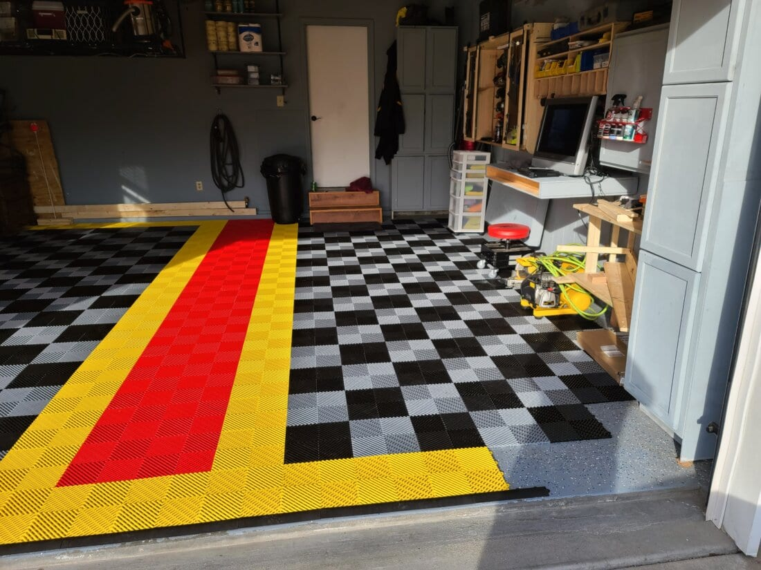 Black and Grey tiles with Yellow and Orange Divider