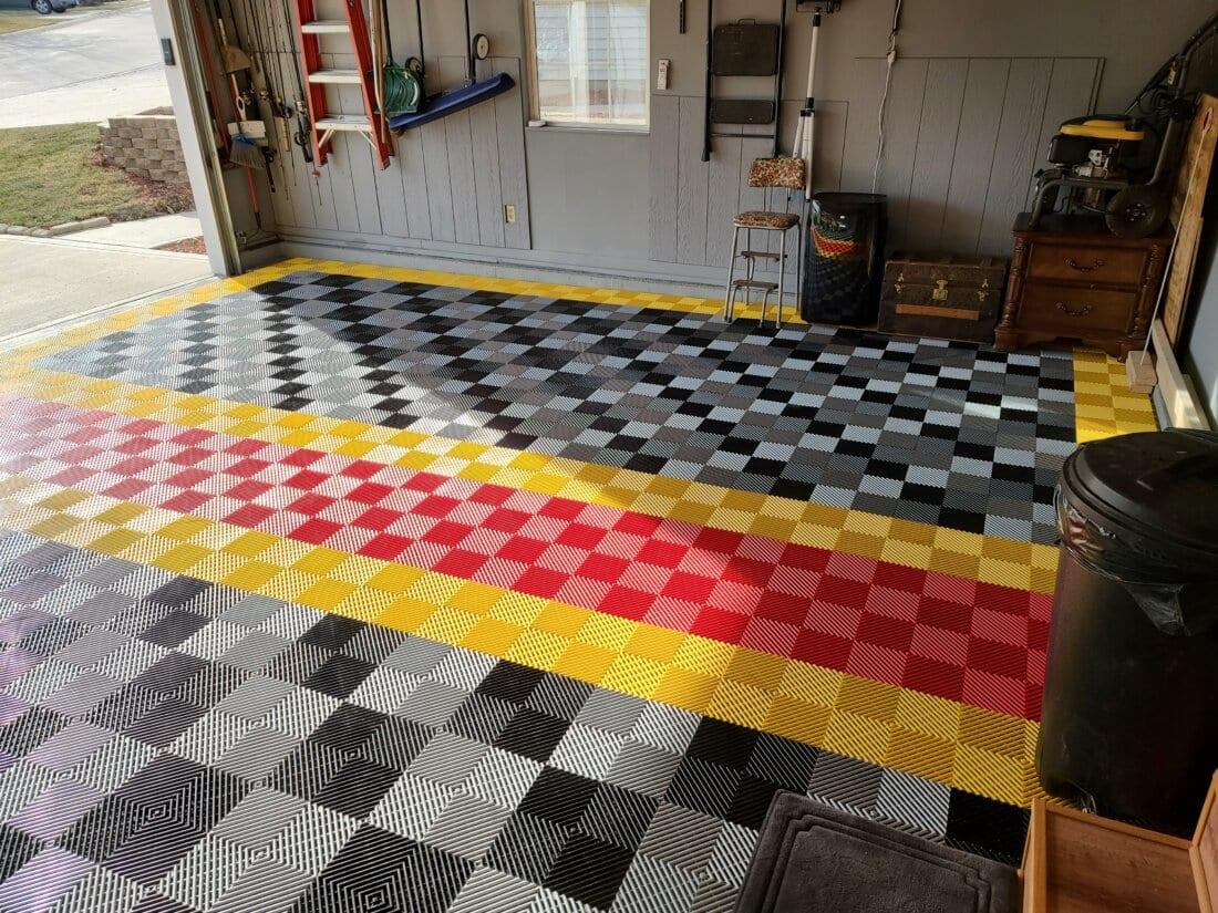 Overhead view of ribbed garage floor tiles