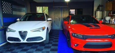 Red and White Cars on TrueLock HD Diamond tiles
