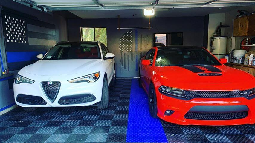 Mancave with TrueLock HD Diamond Tiles with red and white cars