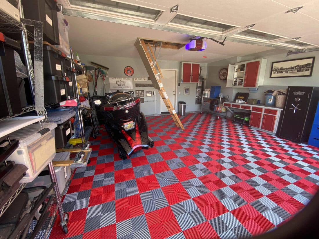 Bruce's Red and Silver Ribbed Tiles with motorcycle