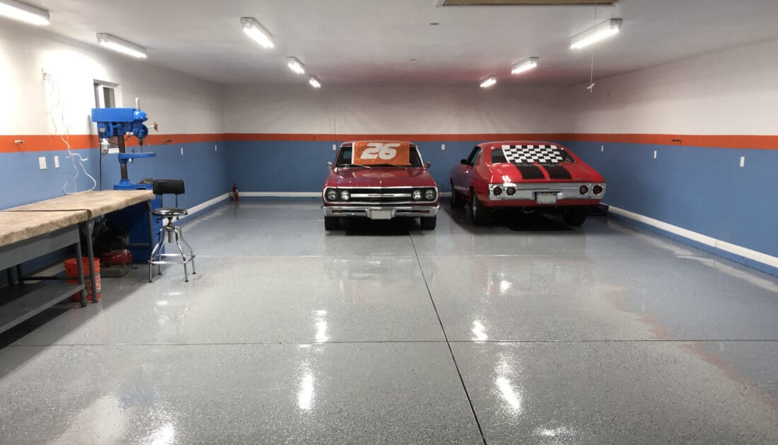 Epoxy Garage Flooring with Red Cars