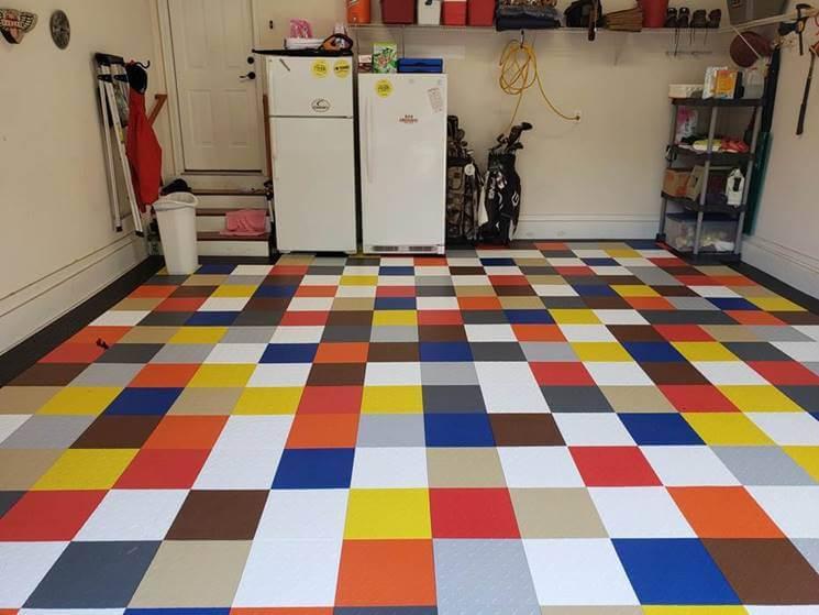 Multi-colored garage floor