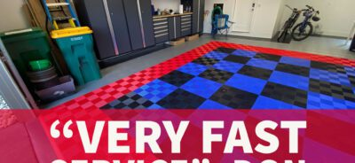 """Red, blue, and black ribbed tiles with quote, """"very fast service"""""""