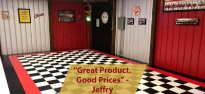 Black and White Checkerboard Garage Floor Tiles with Red Border
