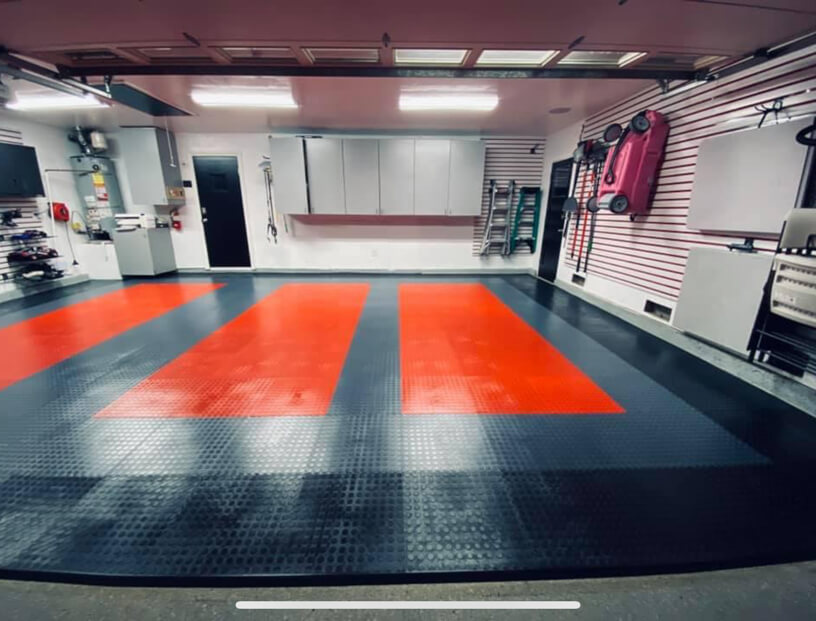 Red, Black, and Gray PVC Tiles
