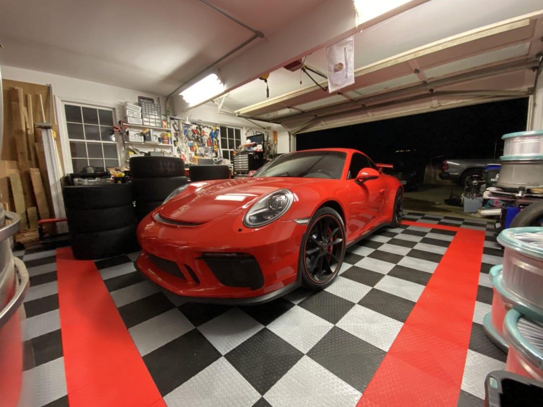 Lynn's Garage before TrueLock HDXT Small Coin Tiles with Red Ferrari