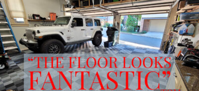 """Graphite and Alloy Tiles with quote, """"the floor looks fantastic"""""""
