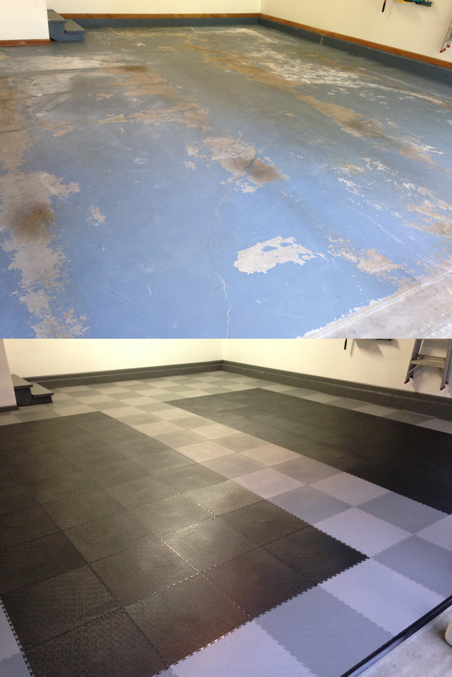 Before and After TrueLock PVC Garage Floor TIles