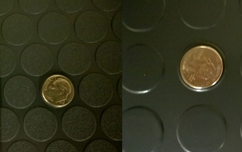 Small Coin Garage Floor Mats Versus Large Coin