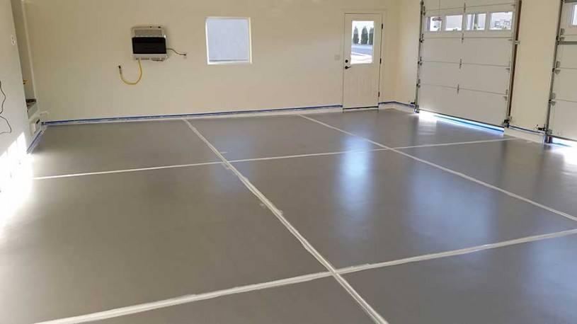 White Cut In on Garage Floor