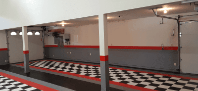 David's Black and White and Red All Over garage floor tile