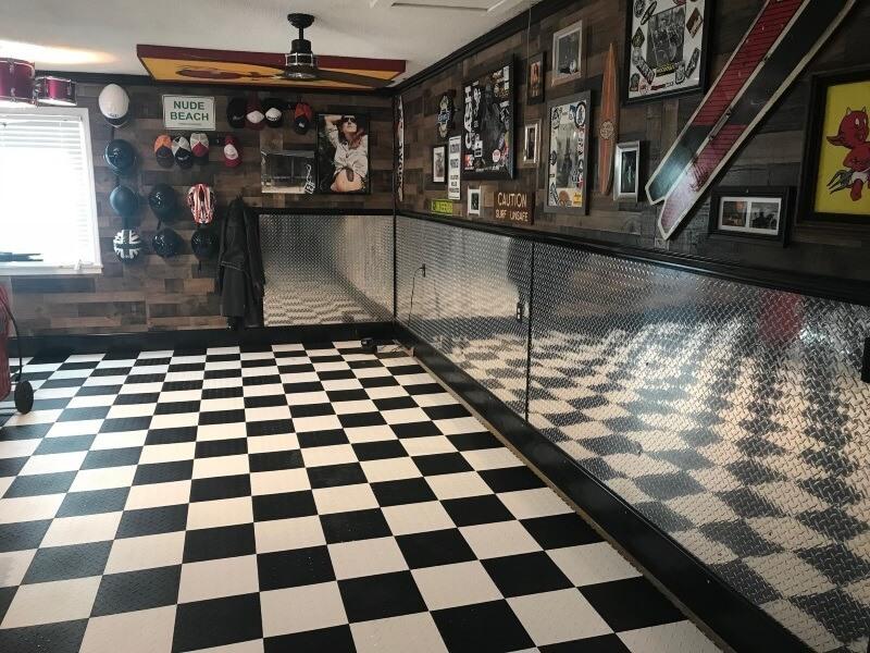 Diamond Garage Floor Tile Project