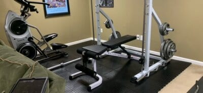 TrueLock HD Coin tiles under workout equipment