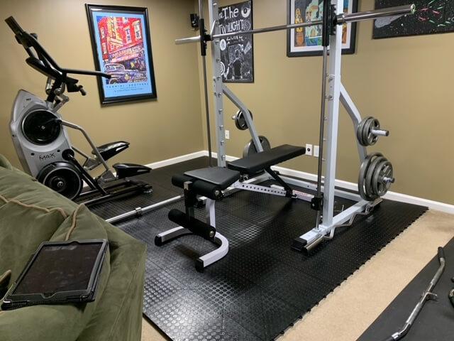 TrueLock HD Coin tiles under workout equipment