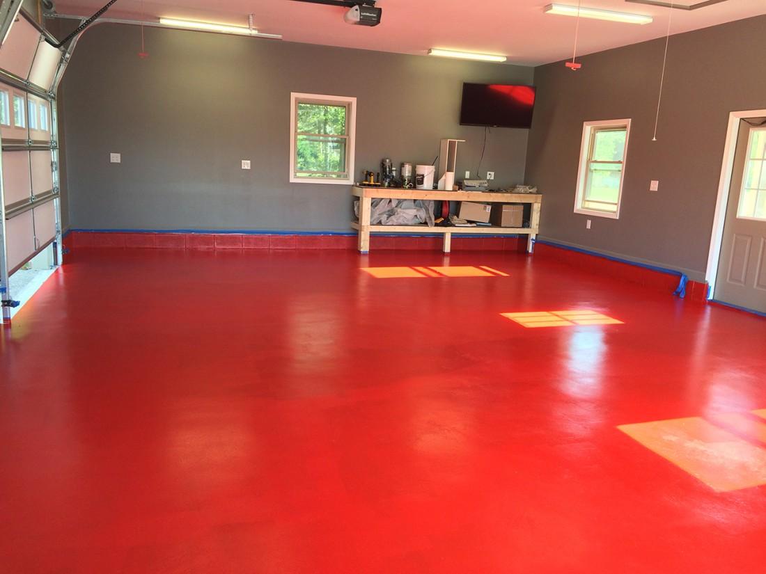 Red Garage Floor Coatings using RUst Bullet